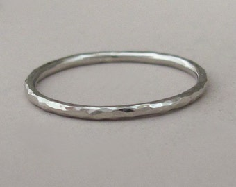 Hand Hammered 14k Palladium White Gold Stacking Ring - 1.3 mm