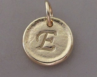 Inital Letter Pendant in 14k Yellow Gold - Tiny Pebble - Recycled Gold