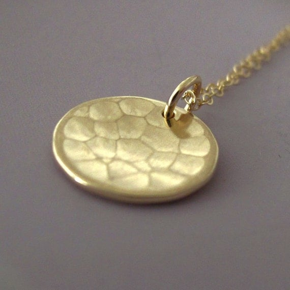14k Gold Necklace - Hammered - Pool - Last Minute Gift