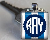 Cool Blue Custom Monogram Key Chain- Choice of 3 Styles - Father's Day, Mother's Day