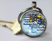 Personalized  Custom Map Key Chain - Choice of 25mm or 30mm Bezel Size