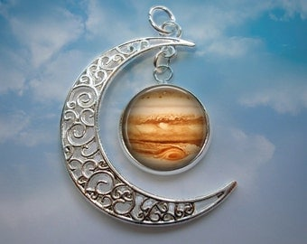 NEW - Crescent Moon Pendant with Image Charm - Jupiter Moon Pendant Necklace - Optional Chain in 3 Lenghts