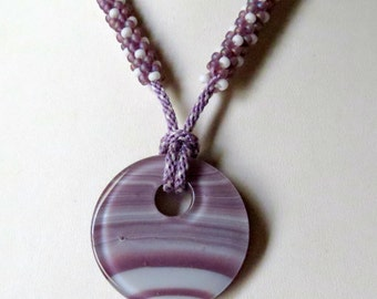 Kumihimo Necklace in Purple and White Shades Fused Glass Pendant, Smokeylady54
