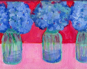 Blue Hydrangeas mini painting, blue canning jars original canvas, easel, 3 x 6  floral painting, floral art one of a kind original OOAK