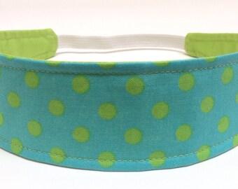 Headband Girls Childs Childrens  - Aqua & Lime Dots - Reversible Fabric Headband - LEXIE