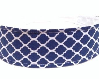 Headband for Women, Adult Headband, Womens Headband - Navy Blue & White Moroccan Quatrefoil Headband  - NAVY BLUE QUATREFOIL