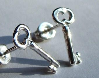 Skeleton Key Studs Key Post Earrings Mini Post Sterling Silver Key Earrings Key Studs