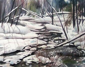 Winter Stream Artwork Michigan Winter Wonderland Snowy Minihaha Creek Giclee print from original watercolor painting 8 x 10