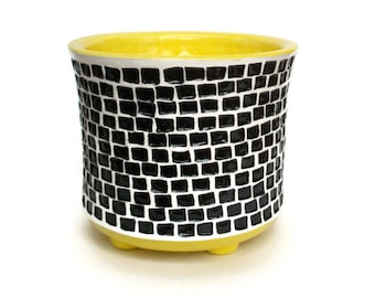 Ceramic Utensil Crock with Tiny Black Squares