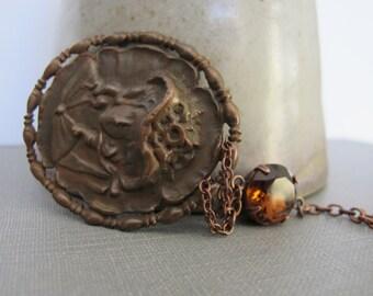 Rhinestone Necklace, Brown Glass, Dark Amber Brown, Copper Lady Pendant, Copper Necklace, Glass Necklace, Vintage Rhinestones,