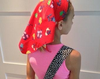 Vintage Headscarf 80s Floral Red Head Covering Turban Head Wrap Hair Accessories Chemo Head Scarf Headband Head Band Bandana Handkerchief
