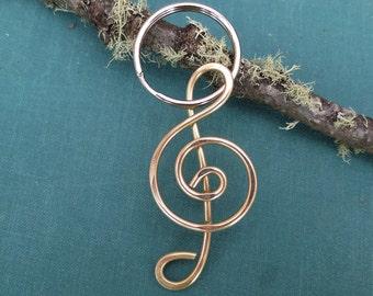 Treble Clef Key Chain, Brass G Clef Keychain, Music Teacher Key Fob, Musician Gift, Unisex Music Gift Key Ring, Women, Men, Accessories