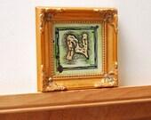 """Letter N Treasure Map / 3"""" x 3"""" Original Watercolor Painting / Alphabet Map Series"""