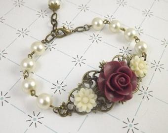 Burgundy and Ivory Pearl Filigree Flower Bracelet