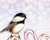 Holiday Chickadee - Original Watercolor Painting
