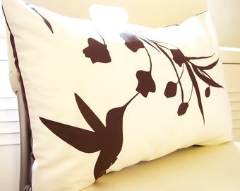 Brown Print on Off White Cotton Hummingbird with Eucalyptus Rectangle Pillow