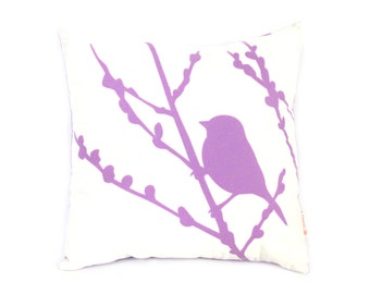Lavender Print on White Cotton Bird on Cherry Blossom Mini 10.5 Inches Square Pillow