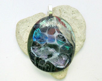 Funky Dichroic Fused Glass Pendant