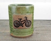 Bicycle Rocks Glass - Old Fashioneds - Pottery Cup - Bike - Moss Green - Colorful  - Barware - Whiskey Cups