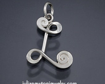 "Sterling silver letter ""L"" monogram pendant."