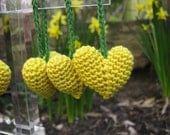 Puff Heart Easter Spring Decoration Heart Hangers Yellow Green