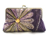 Purple Clutch Bag, Radiant Orchid Supersnap, Adire purse, African Purple and Lilac Batik Kiss Lock clutch, Wedding Clutch, Gift for wife