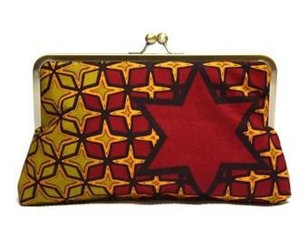 Clutch bag, Red Clutch, Red Star Supesnap Clutch, Ankara clutch purse, African Wax print handbag, Funky clutch bag, statement bag