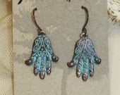 Hamsa Hands Verdigris Dangle Earrings with Copper Wires