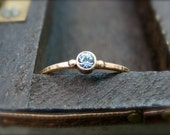 tiny water spirit ... solid 14k gold aquamarine stack ring