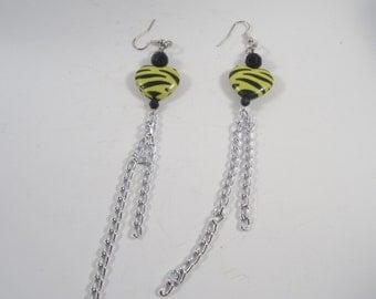 Yellow Zebra Heart  Earrings - Punk - Rocker - Rockabilly - Pin Up Jewelry