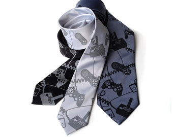 "Joystick necktie. Video game controller tie. Geek chic gamer gift. ""Control Freak,"" gaming console screen printed tie."