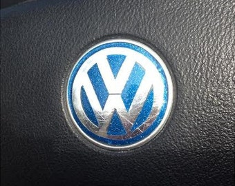 VW Steering Wheel Emblem  Decal Sticker Inserts in Ultrametallic Vinyl for New Beetles 2011 and older models