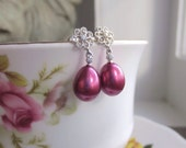 Cranberry Pearl Earrings AAA Freshwater Pearl Cubic Zirconia Rhodium