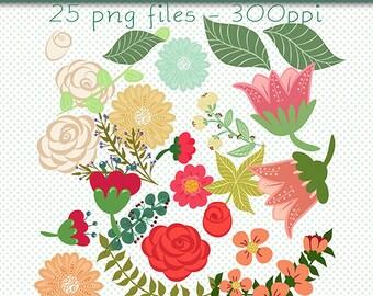 Digital Flowers, Floral Clip Art, Flowers Clip Art, Pretty Flowers Clip Art, Digital Scrapbooking, Floral Art, Digital Download Clipart, Art