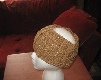 Wide Brown Crocheted Headband