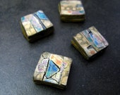 Large square collaged strata beads in polymer with ochre, blue and gold accents