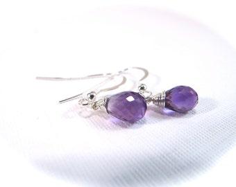 Amethyst Sterling Silver Gemstone Drop Earrings February Birthstone