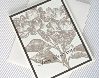 Condolence/sympathy card handmade stamped blank flower espresso khaki stationery greeting card home and living