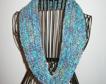 Blue and Red Scarf, Cowl, Infinity Scarf, Circle Scarf