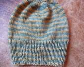 Hand Knit knitted wool woolen hat cap watchcap beanie unisex men women green gold striped L