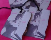 4 Gift Tags Mais Oui French Fashion Lady Black Hot Pink Jewel