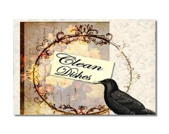 Dishwasher Clean Dirty dishes magnet Flip Sign Victorian Crow shabby chic