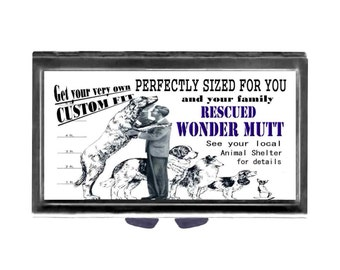 Pill Case with Mirror Rescue Wonder Mutt pill box 3 day sections flowers animal shelter dogs Wife Gift