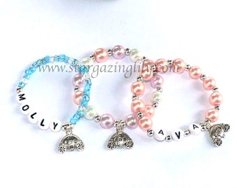Little Princess Carriage Charm Bracelet PERSONALIZED Jewelry Party Favor Cinderella Carriage Coach Name Bracelet Infant Baby Child Kid Sizes