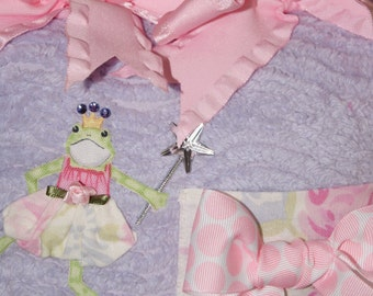 Boutique Chenille Tooth Fairy Pillow Grace Frog Princess Pink Lavender Polka Dot