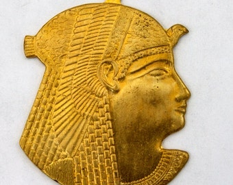 40mm Raw Brass Pharaoh Head Charm #2203