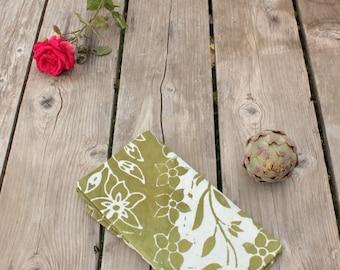 olive green flowers floursack tea towel