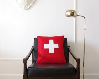 Red Swiss Cross Decorative Pillow Cover