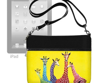 Clara Nilles Giraffe fabric ipad case, ipad air 2 case, ipad air case, Crossbody Bag, Shoulder Purse, zipper  pocket, yellow red blue RTS