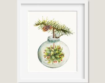 Watercolor Painting - Christmas Ornament with Mistletoe Painting - 8 by 10 print - Archival Print, Holiday Decor, Holiday Art